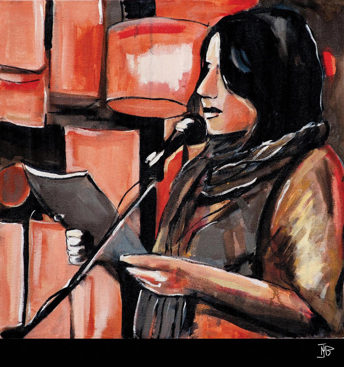 Painting of Jenny Sampirisi by Melanie Janisse-Barlow