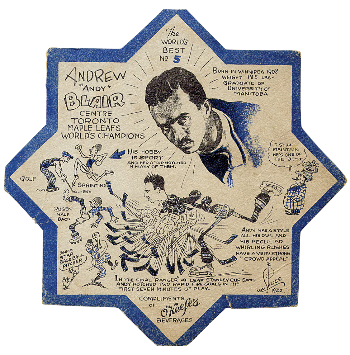 Photo of O'Keef's coaster featuring 1932 Toronto Maple Leafs