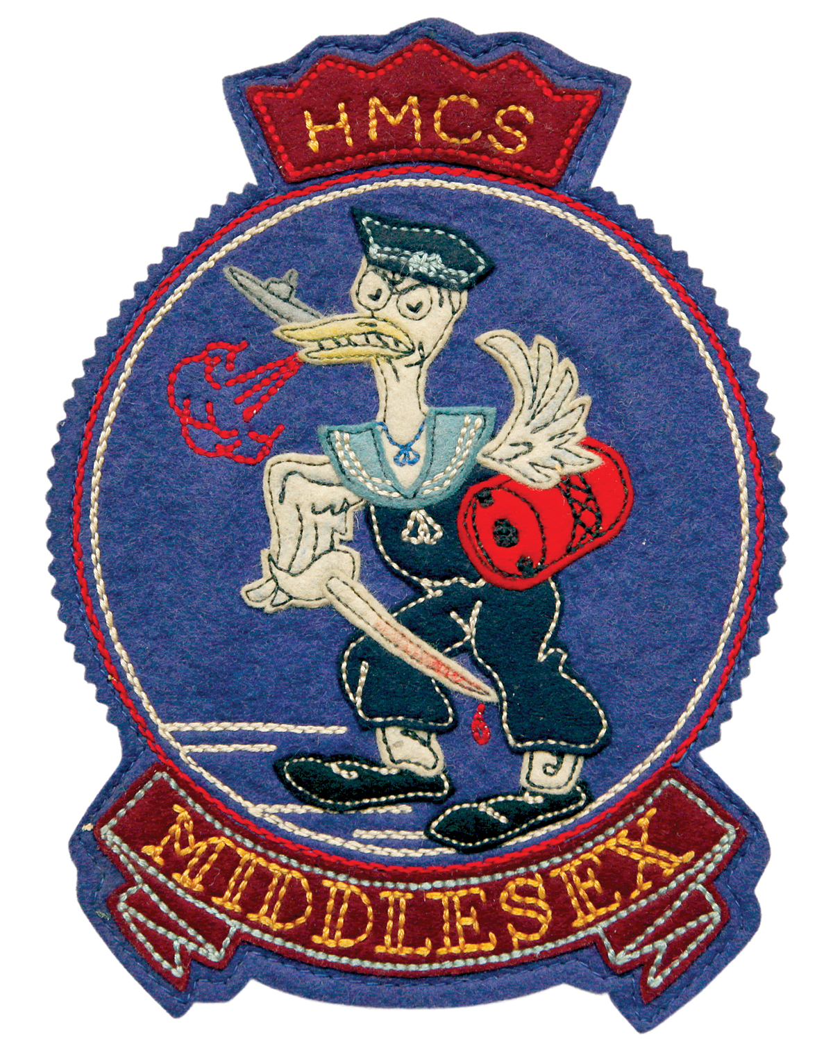 Photo of  H.M.C.S. Middlesex patch featuring a mascot by Lou Skuce