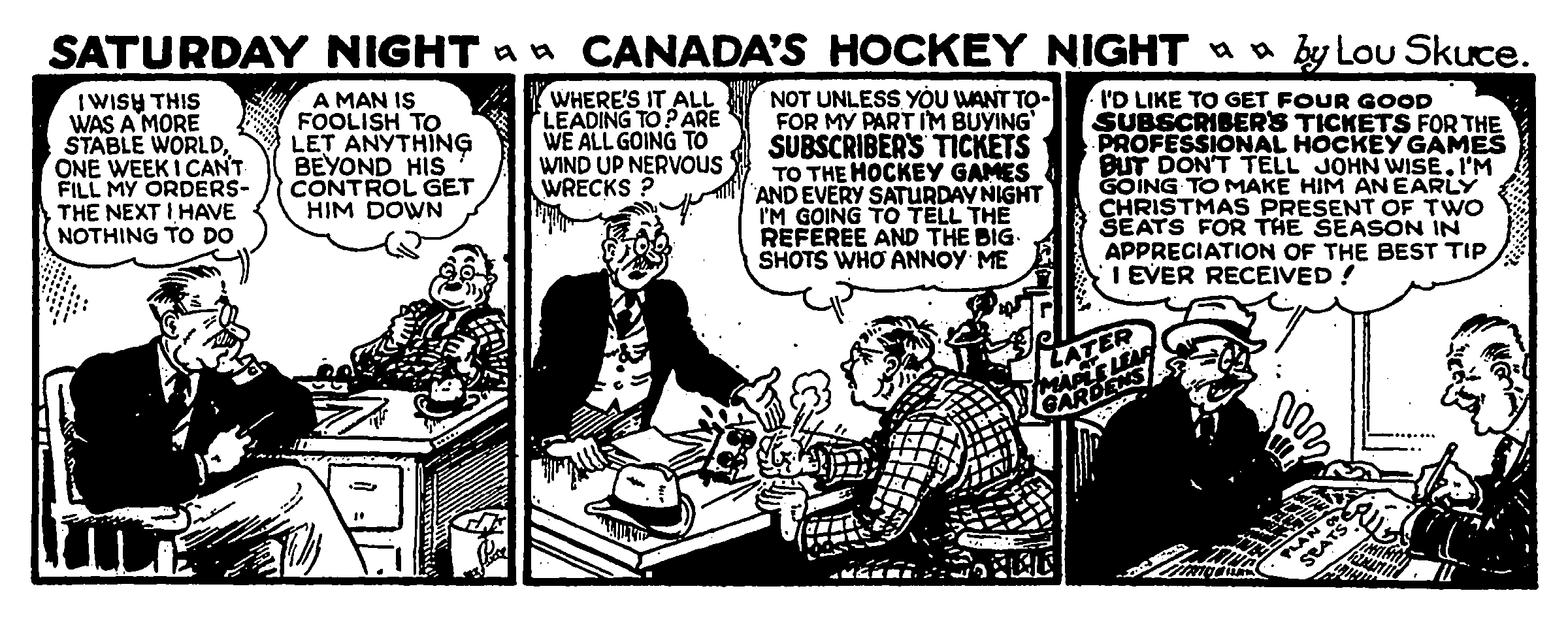Toronto Maple Leafs ad by Lou Skuce, October 26, 1940